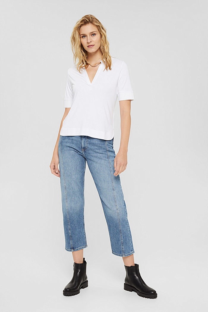 7/8 jeans in organic cotton in a fashion fit, BLUE MEDIUM WASHED, detail image number 1