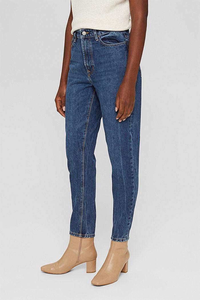 Jean court taille haute, 100% coton biologique, BLUE DARK WASHED, detail image number 0