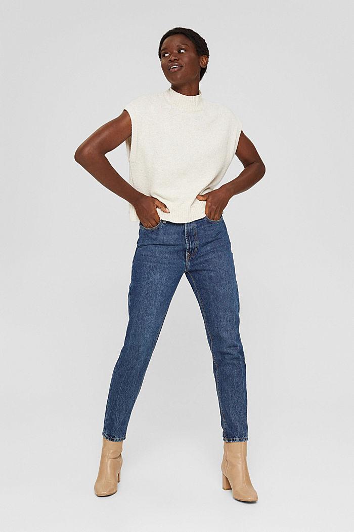 Jean court taille haute, 100% coton biologique, BLUE DARK WASHED, detail image number 1