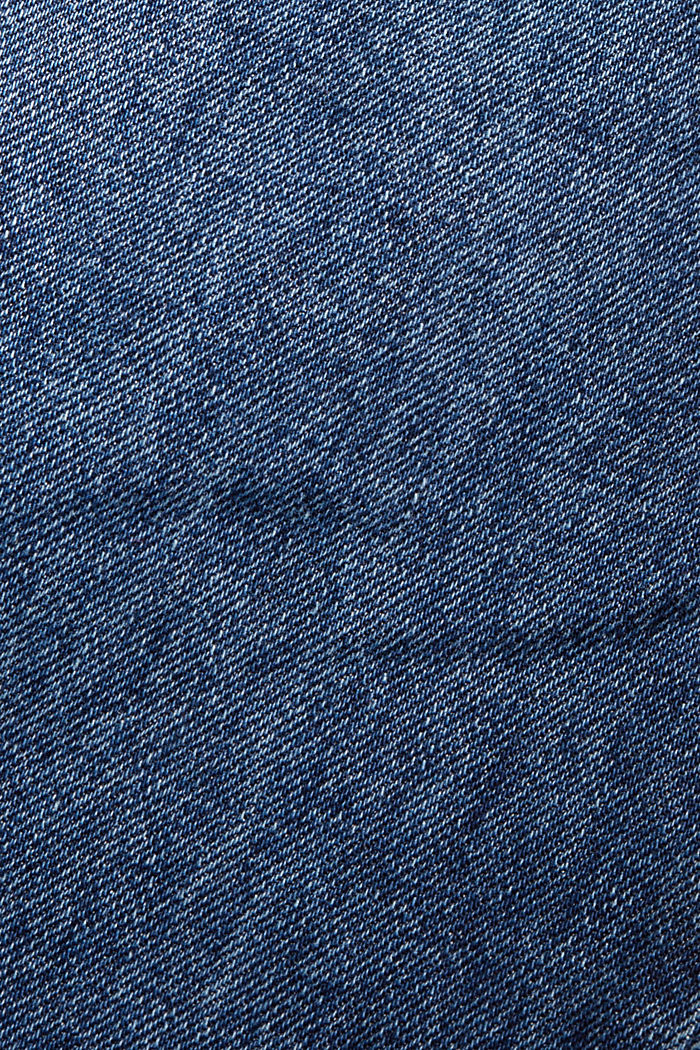 Jean court taille haute, 100% coton biologique, BLUE DARK WASHED, detail image number 4