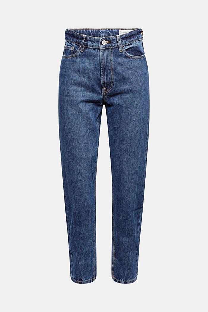 Jean court taille haute, 100% coton biologique, BLUE DARK WASHED, detail image number 6