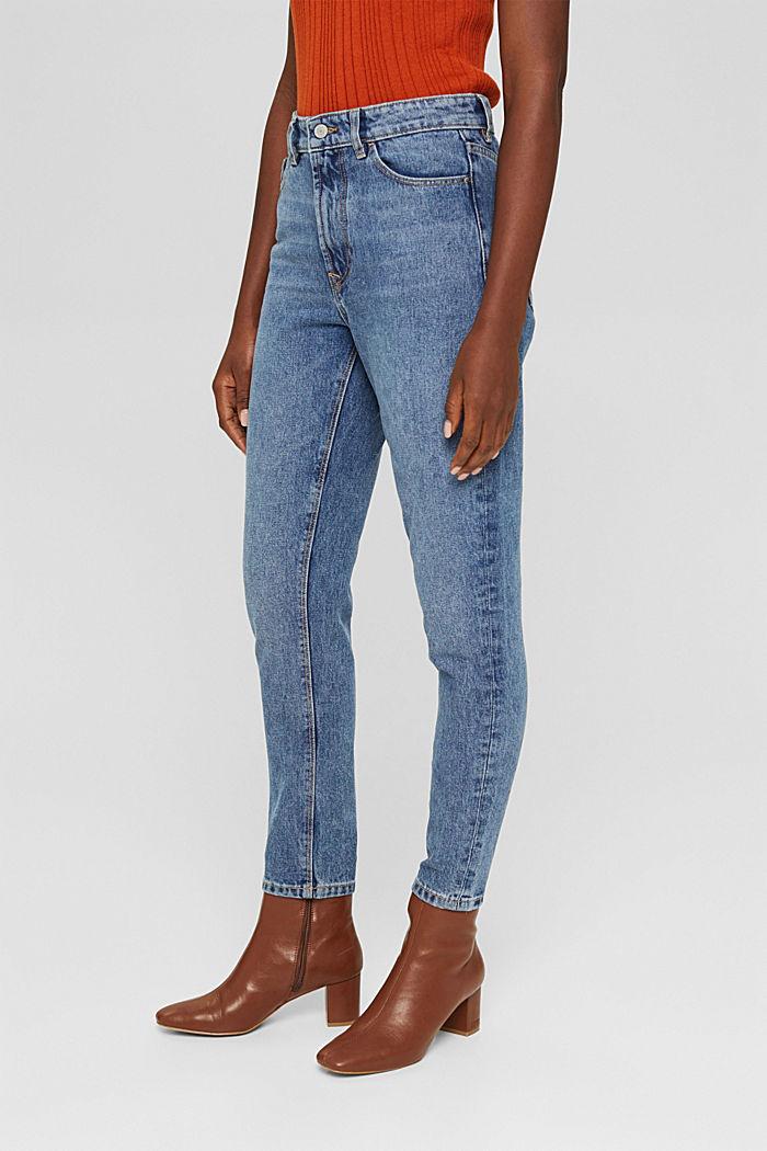 Cropped high-rise-jeans, 100% biologisch katoen, BLUE MEDIUM WASHED, detail image number 0