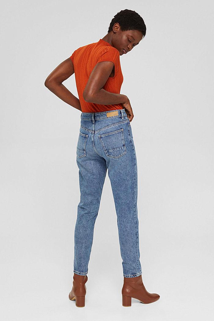 Cropped high-rise-jeans, 100% biologisch katoen, BLUE MEDIUM WASHED, detail image number 3