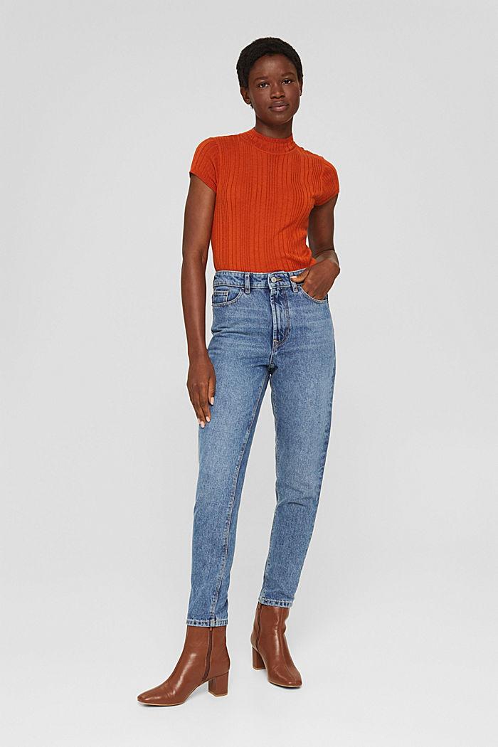 Cropped high-rise-jeans, 100% biologisch katoen, BLUE MEDIUM WASHED, detail image number 5