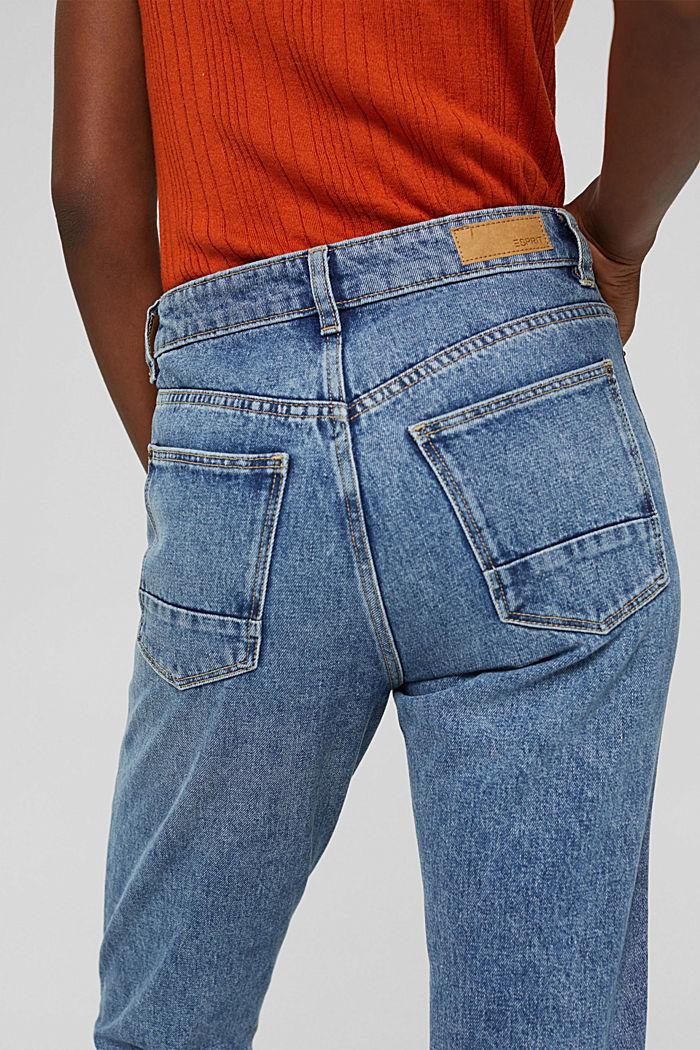 Cropped high-rise-jeans, 100% biologisch katoen, BLUE MEDIUM WASHED, detail image number 2