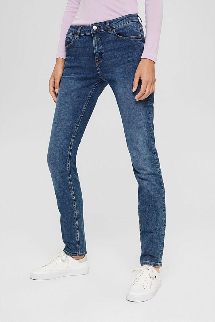 Jean stretch délavé en coton bio, BLUE DARK WASHED, detail image number 0