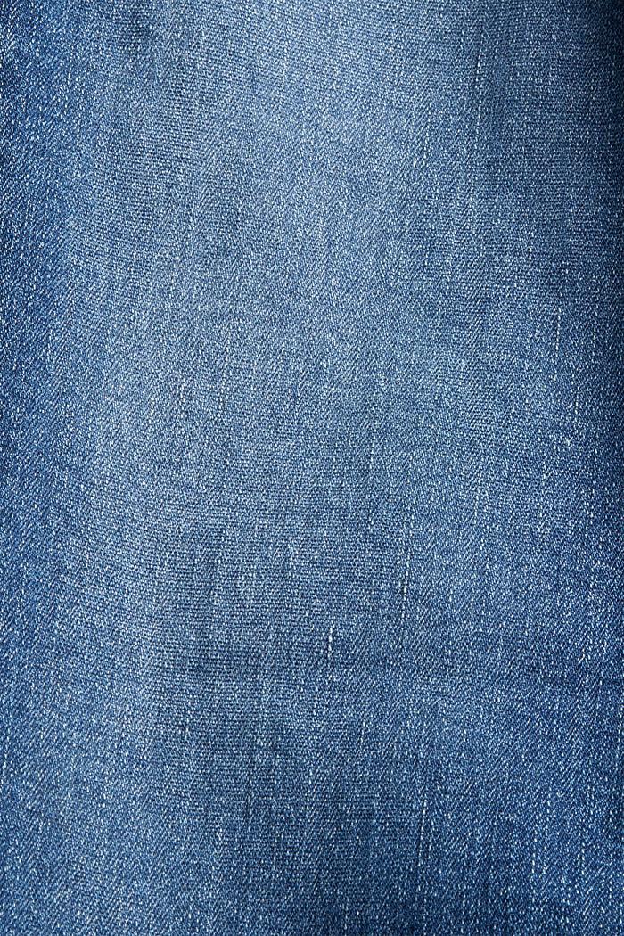 Jean stretch délavé en coton bio, BLUE DARK WASHED, detail image number 4