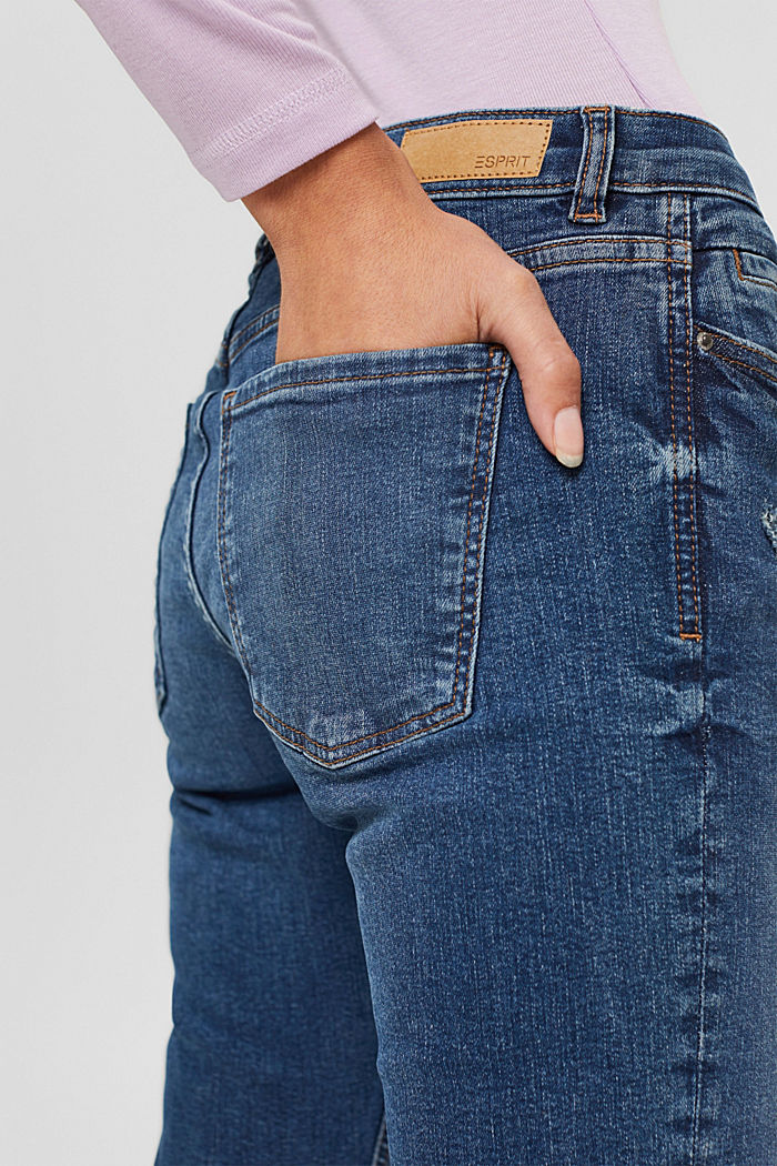Jean stretch délavé en coton bio, BLUE DARK WASHED, detail image number 5