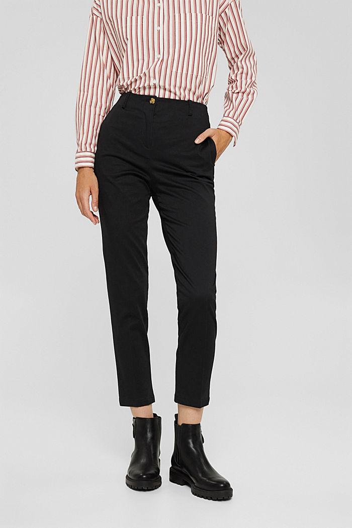Pantalon stretch en coton mélangé, BLACK, detail image number 0