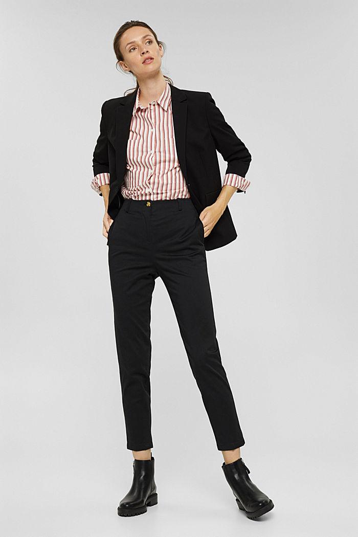Pantalon stretch en coton mélangé, BLACK, detail image number 1