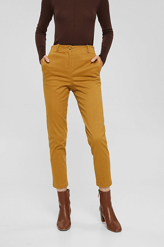 Cotton-blend stretch trousers, CAMEL, detail image number 0