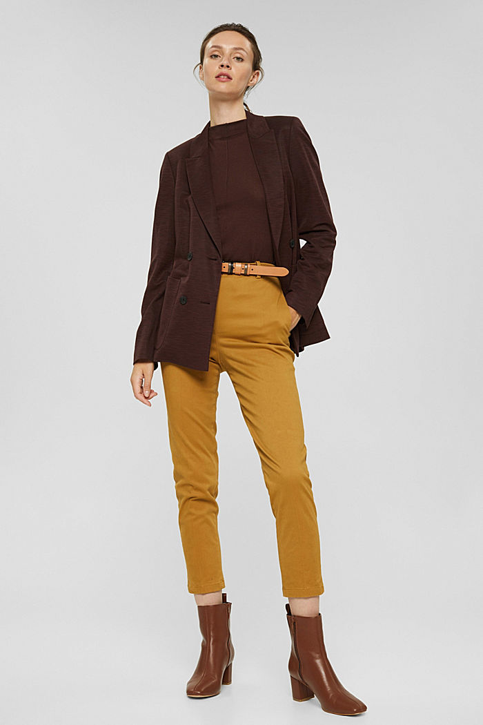 Cotton-blend stretch trousers, CAMEL, detail image number 1