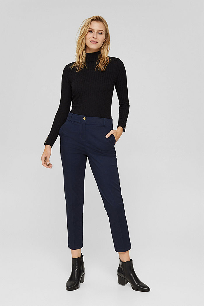 Cotton-blend stretch trousers, NAVY, detail image number 1