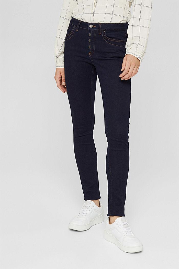 Jeans mit Knopfleiste und Kaschmir-Touch, BLUE RINSE, detail image number 0