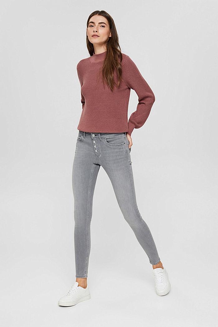 Jeans mit Knopfleiste und Kaschmir-Touch, GREY MEDIUM WASHED, detail image number 6