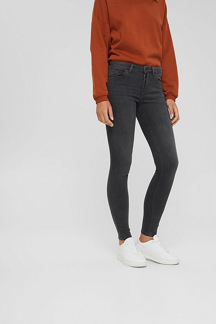 Jeans mit Knopfleiste und Kaschmir-Touch, BLACK DARK WASHED, detail image number 0