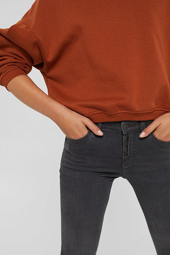 Jeans mit Knopfleiste und Kaschmir-Touch, BLACK DARK WASHED, detail image number 2