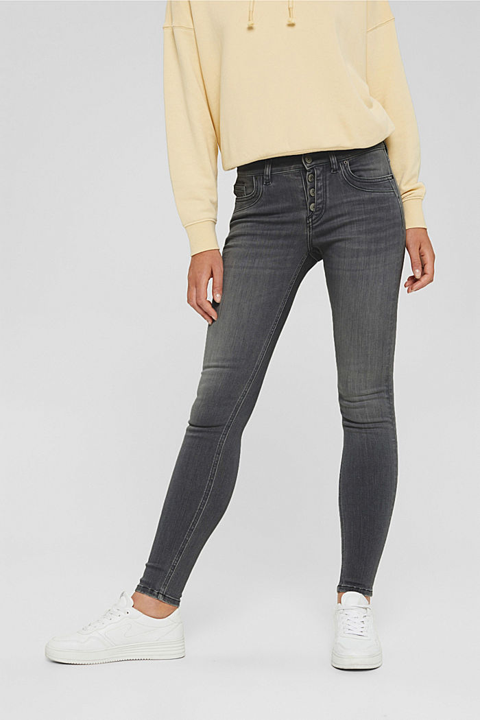 Button-fly jeans with a cashmere texture, GREY DARK WASHED, detail image number 0