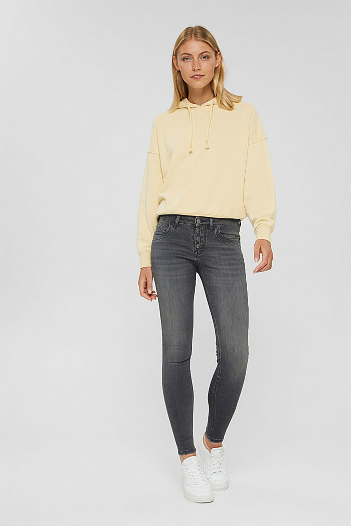 Button-fly jeans with a cashmere texture, GREY DARK WASHED, detail image number 1