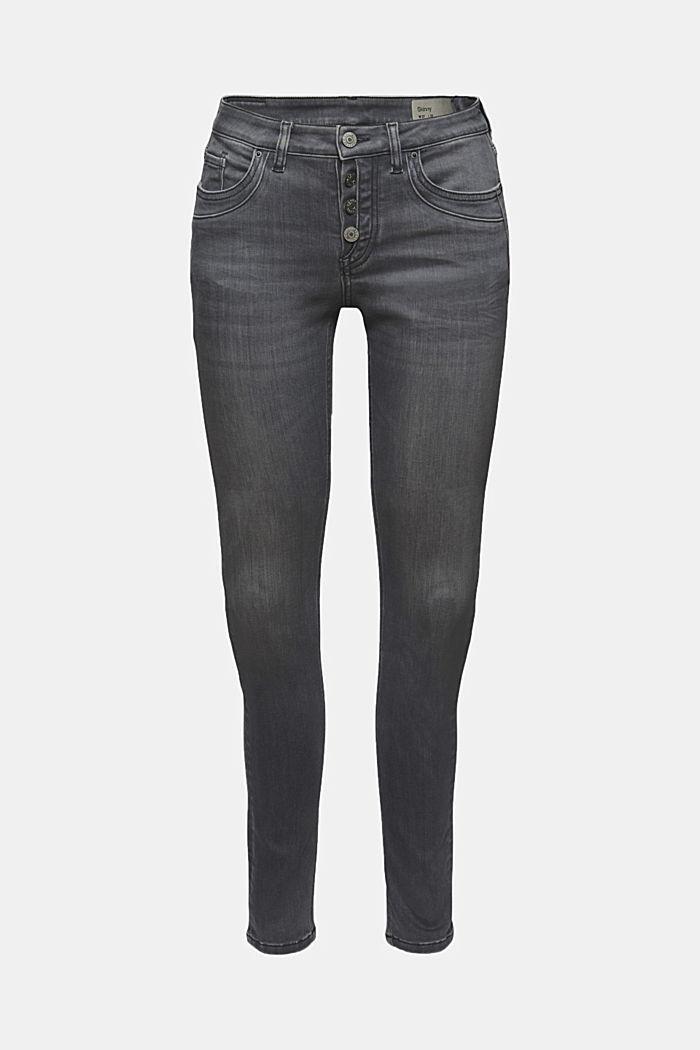 Jeans med knappslå och kaschmirkänsla