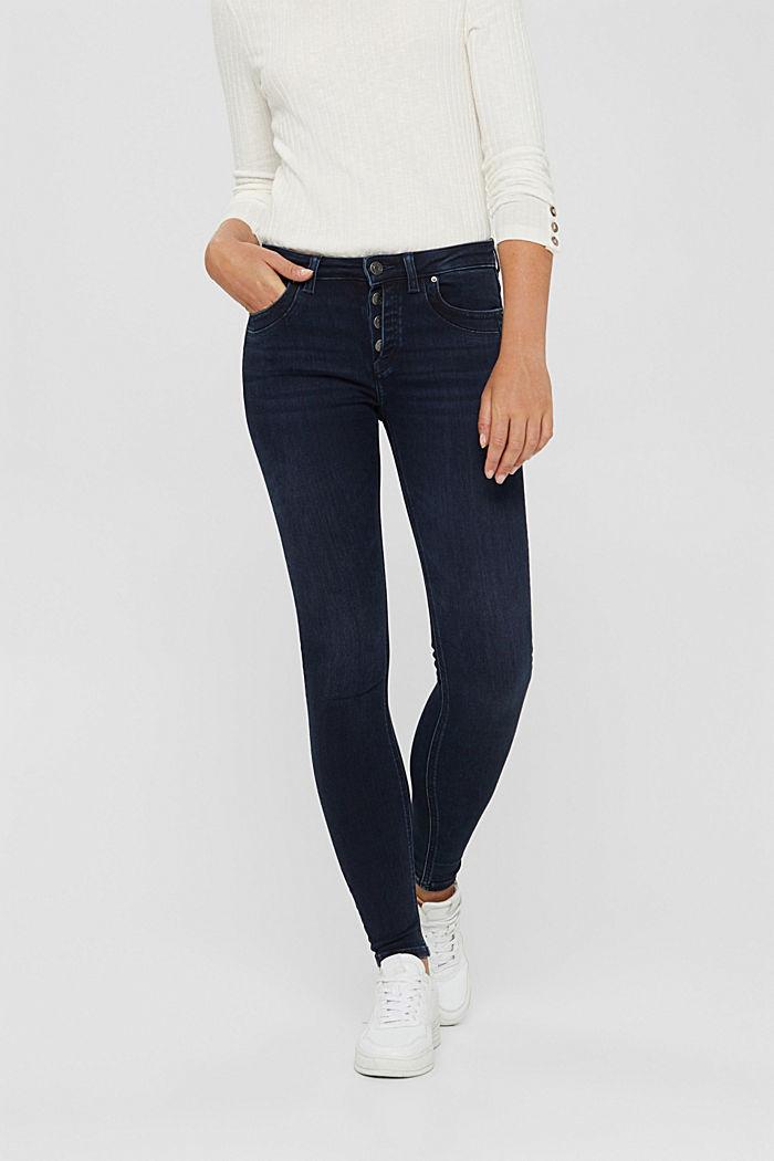 Jeans mit Knopfleiste und Kaschmir-Touch, BLUE BLACK, detail image number 0