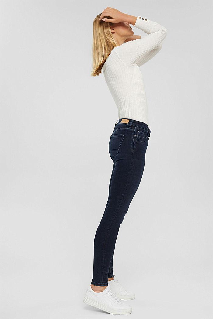Jeans mit Knopfleiste und Kaschmir-Touch, BLUE BLACK, detail image number 1
