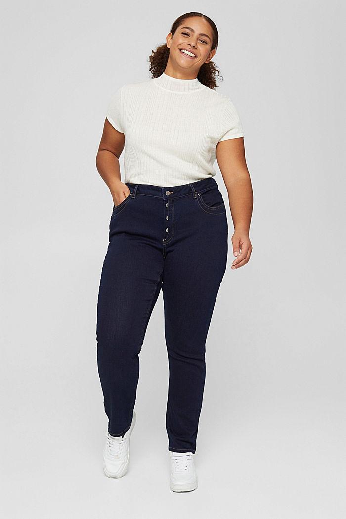 CURVY Jeans mit Knopfleiste und Kaschmir-Touch, BLUE RINSE, detail image number 5