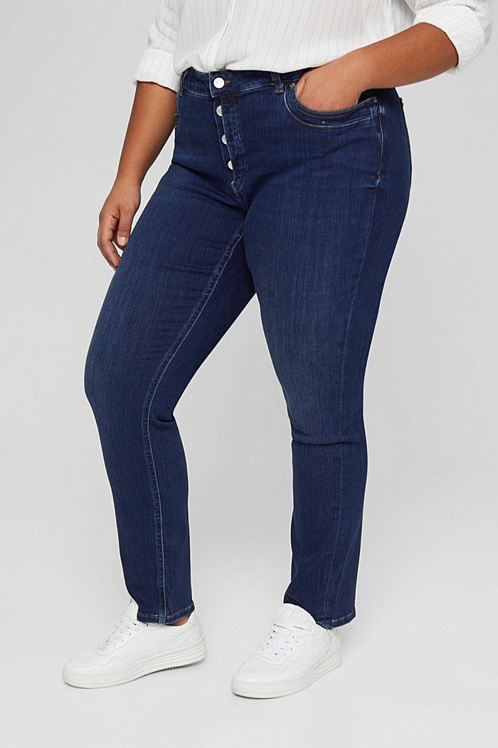 CURVY Jeans mit Knopfleiste und Kaschmir-Touch, BLUE DARK WASHED, detail image number 0