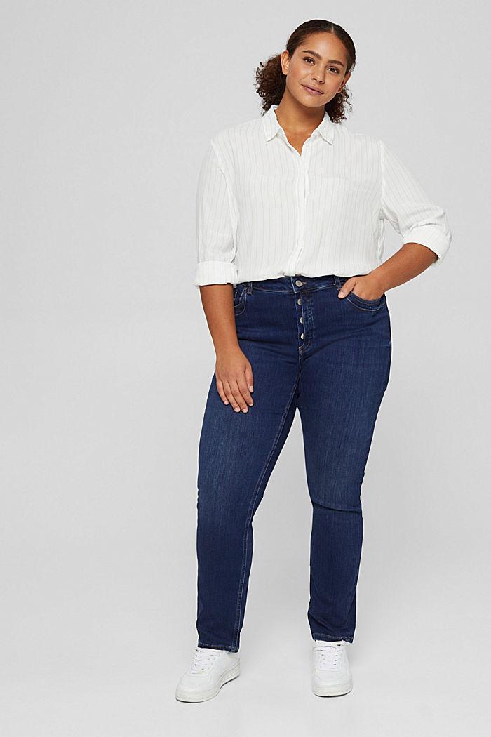 CURVY Jeans mit Knopfleiste und Kaschmir-Touch, BLUE DARK WASHED, detail image number 5