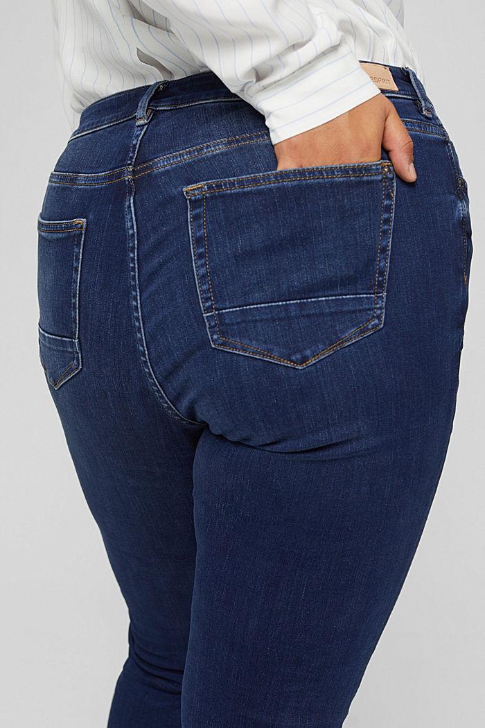 CURVY Jeans mit Knopfleiste und Kaschmir-Touch, BLUE DARK WASHED, detail image number 2