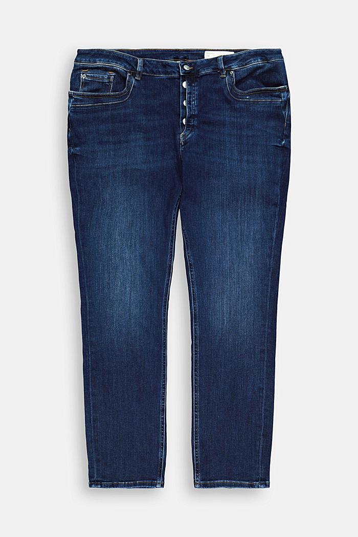 CURVY Jeans mit Knopfleiste und Kaschmir-Touch, BLUE DARK WASHED, detail image number 6
