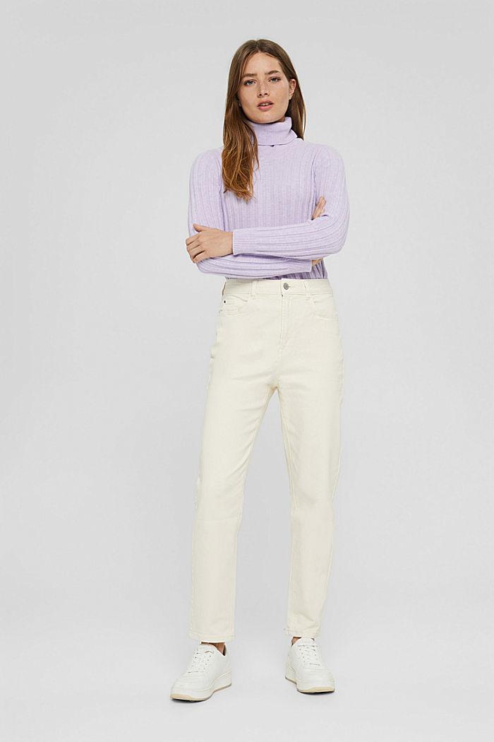 Pantalon de coupe Mom en coton biologique, OFF WHITE, detail image number 1