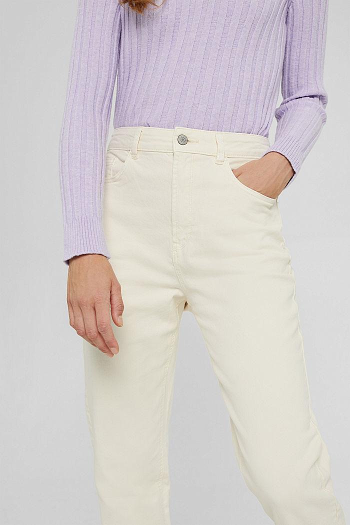 Pantalon de coupe Mom en coton biologique, OFF WHITE, detail image number 2