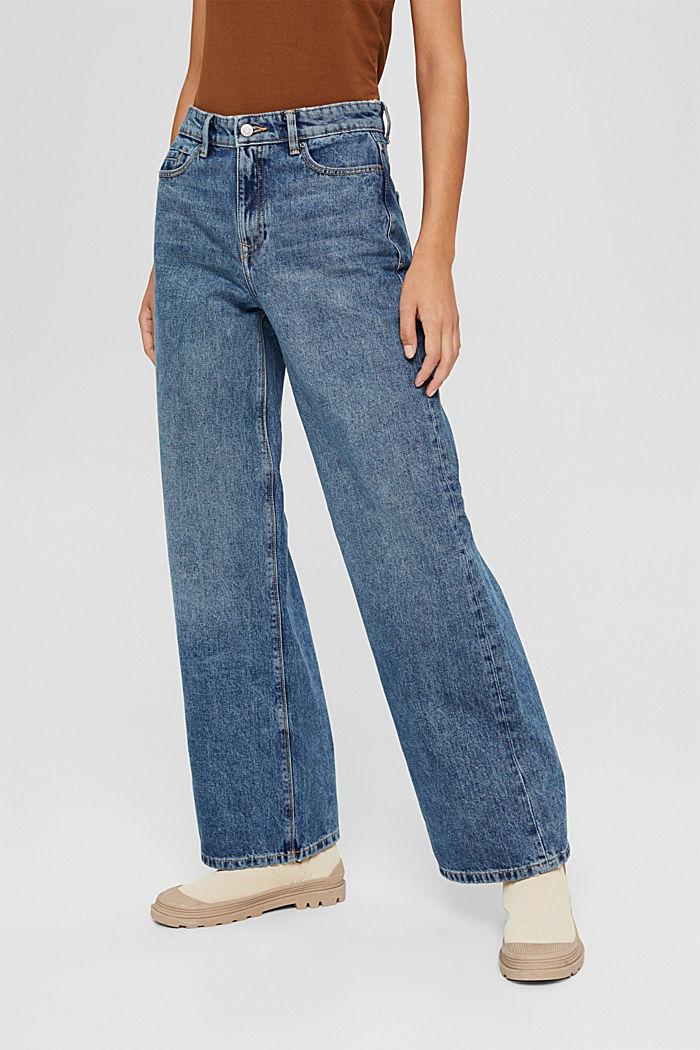 Jean à jambes larges , 100% coton biologique, BLUE MEDIUM WASHED, detail image number 0