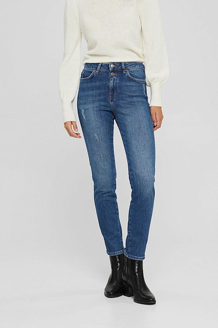 High-Rise-Jeans mit Used-Details, BLUE DARK WASHED, detail image number 0