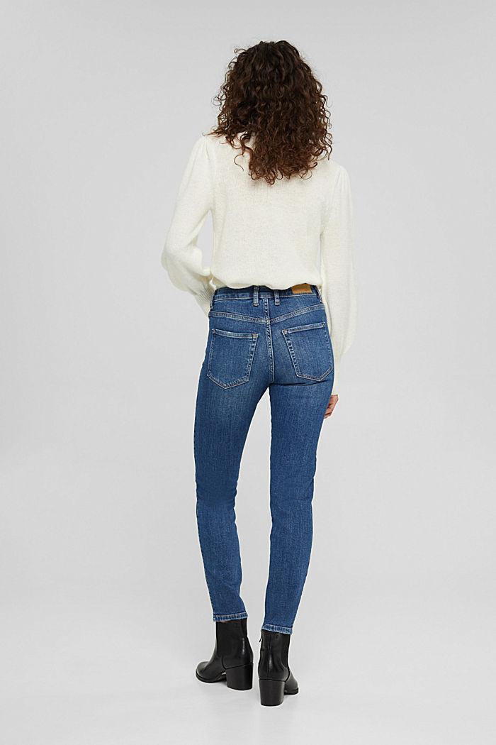 High-Rise-Jeans mit Used-Details, BLUE DARK WASHED, detail image number 3