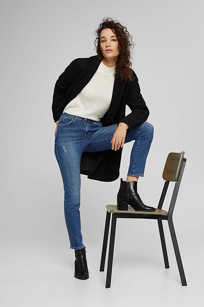 High-Rise-Jeans mit Used-Details, BLUE DARK WASHED, detail image number 6