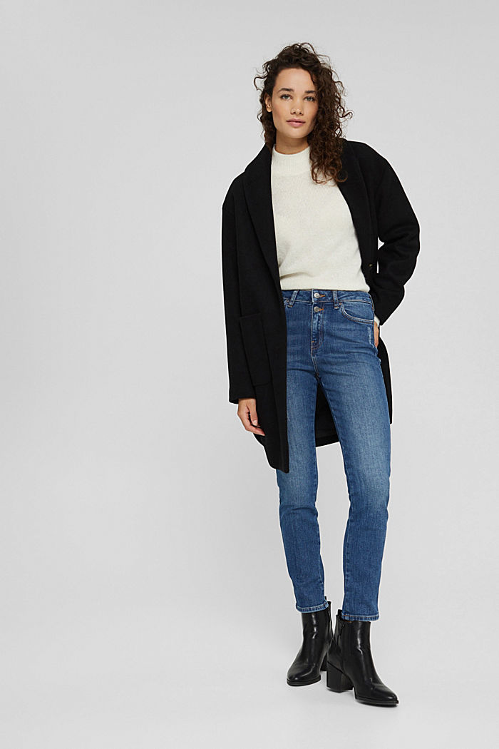 High-Rise-Jeans mit Used-Details, BLUE DARK WASHED, detail image number 1