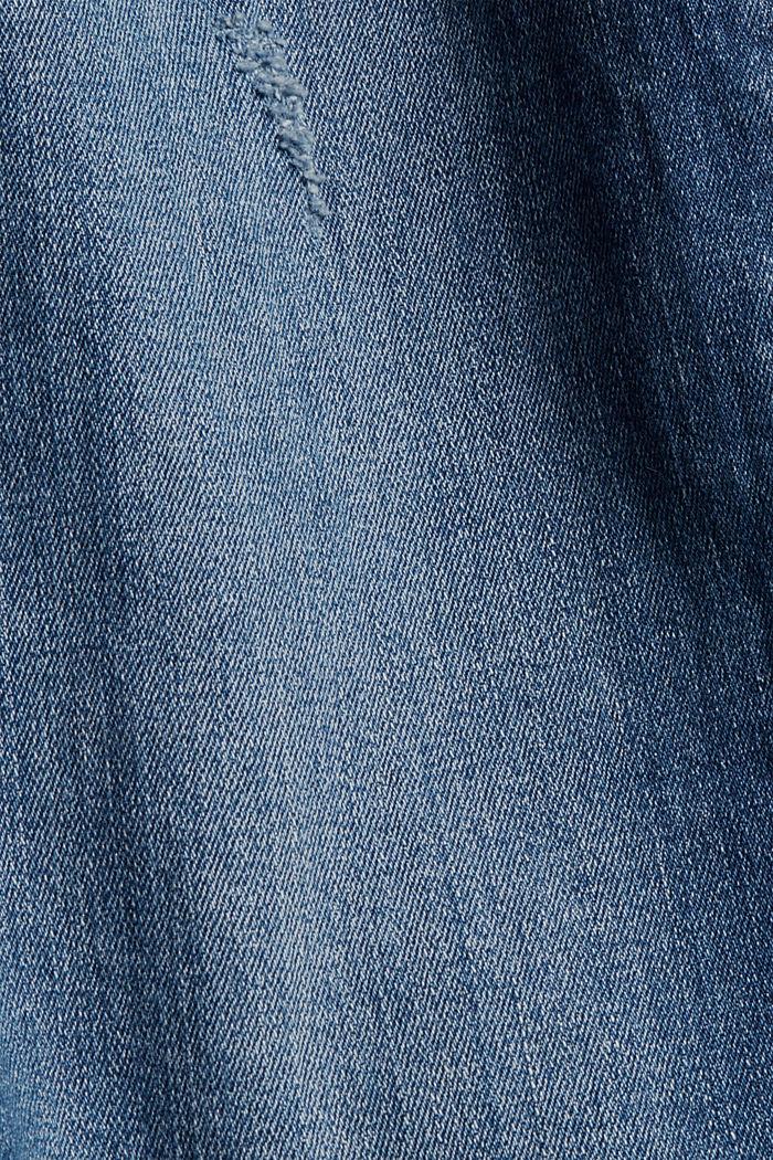High-Rise-Jeans mit Used-Details, BLUE DARK WASHED, detail image number 4