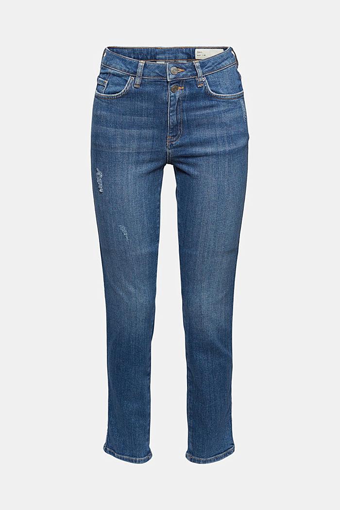 High-Rise-Jeans mit Used-Details, BLUE DARK WASHED, detail image number 7