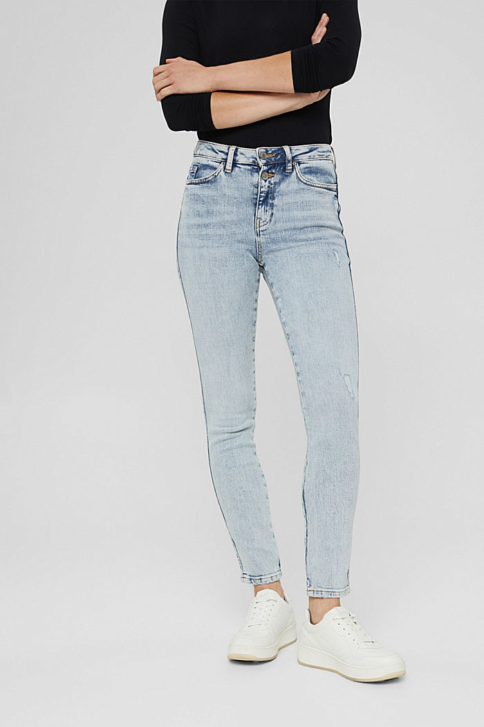 High-rise jeans with a vintage finish, BLUE LIGHT WASHED, detail image number 0