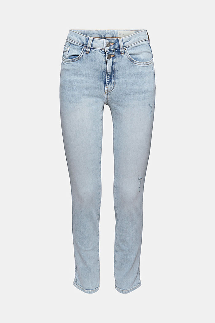 High-rise jeans with a vintage finish, BLUE LIGHT WASHED, detail image number 6