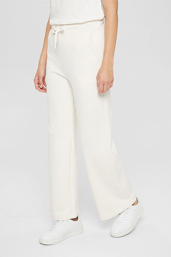 Tracksuit bottoms with a wide leg, 100% cotton, OFF WHITE, detail image number 0