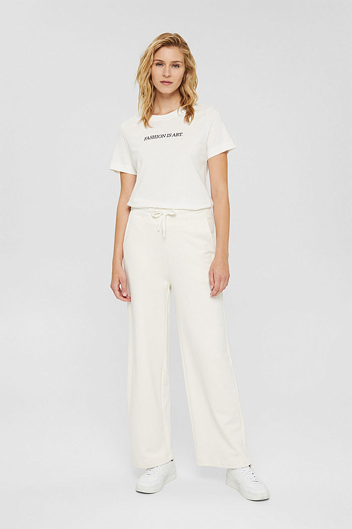 Tracksuit bottoms with a wide leg, 100% cotton, OFF WHITE, detail image number 5