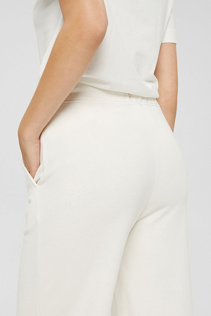 Tracksuit bottoms with a wide leg, 100% cotton, OFF WHITE, detail image number 2