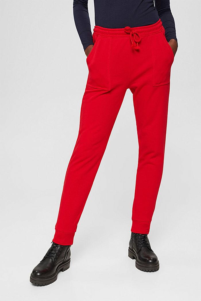 Sweatbroek in jogger-stijl, organic cotton, RED, detail image number 0
