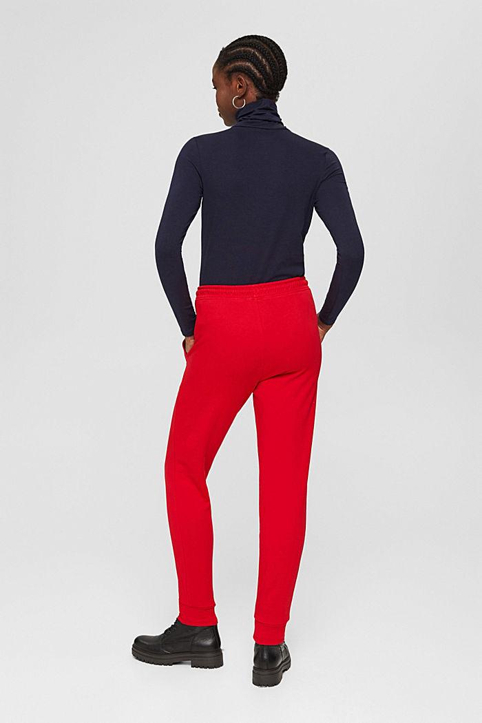 Sweatbroek in jogger-stijl, organic cotton, RED, detail image number 3