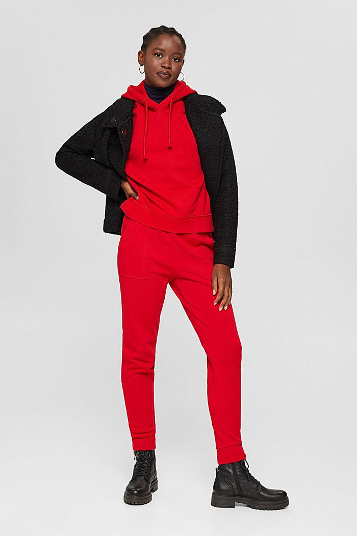 Sweatbroek in jogger-stijl, organic cotton, RED, detail image number 1