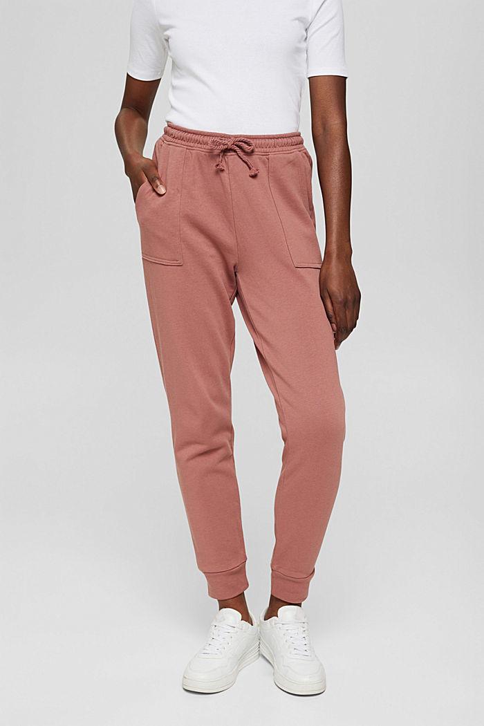 Sweatbroek in jogger-stijl, organic cotton, DARK OLD PINK, detail image number 0