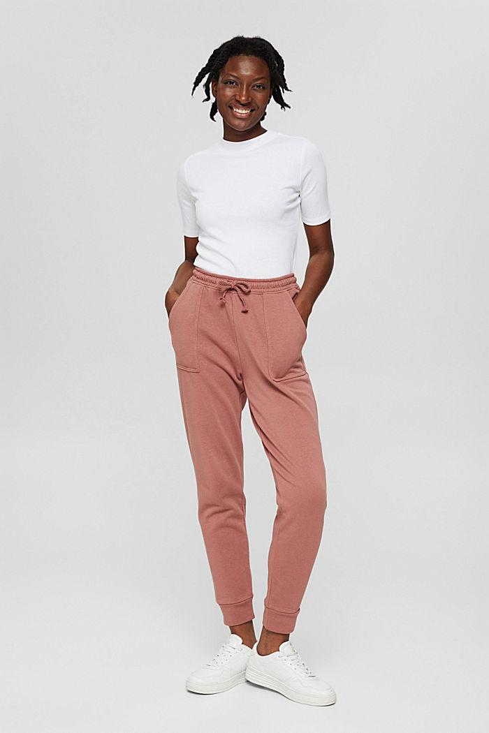 Sweatbroek in jogger-stijl, organic cotton, DARK OLD PINK, detail image number 7